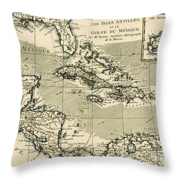 The Antilles And The Gulf Of Mexico Throw Pillow by Guillaume Raynal