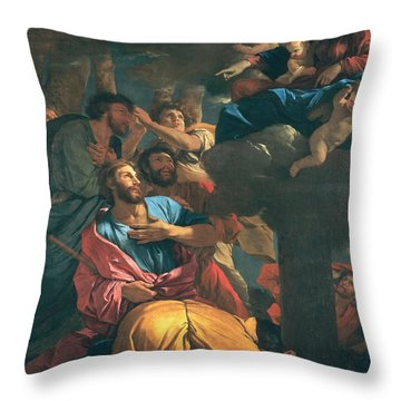 The Apparition Of The Virgin The St James The Great Throw Pillow by Nicolas Poussin