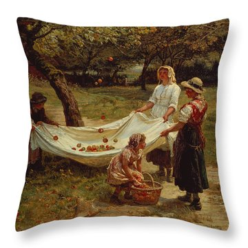 The Apple Gatherers Throw Pillow by Frederick Morgan