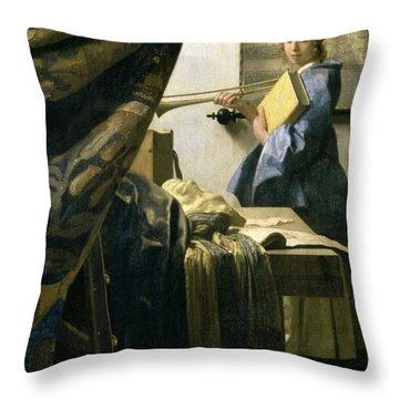 The Artists Studio Throw Pillow by Jan Vermeer