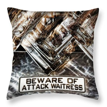 The Attack Waitress  Throw Pillow by Joan  Minchak
