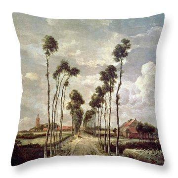 The Avenue At Middelharnis Throw Pillow by Meindert Hobbema