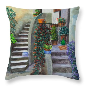 The Back Stairs Throw Pillow by Charlotte Blanchard