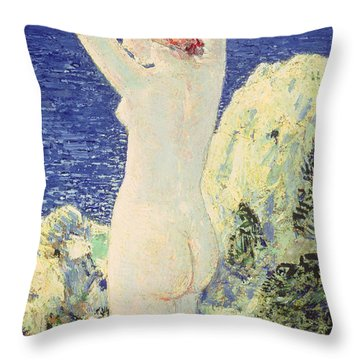 The Bather Throw Pillow by Childe Hassam