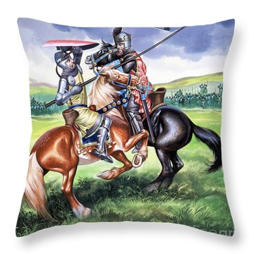 The Battle Of Bannockburn Throw Pillow by Ron Embleton