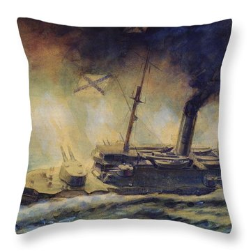 The Battle Of The Gulf Of Riga Throw Pillow by Mikhail Mikhailovich Semyonov