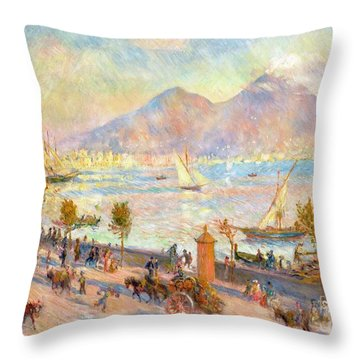 The Bay Of Naples With Vesuvius In The Background Throw Pillow by Pierre Auguste Renoir