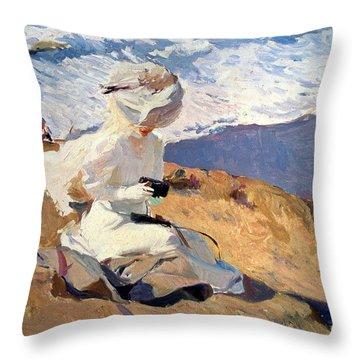 The Beach At Biarritz Throw Pillow by Joaquin Sorolla
