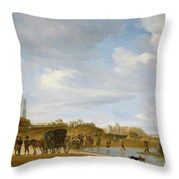 The Beach At Egmond An Zee Throw Pillow by Salomon van Ruysdael