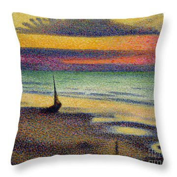 The Beach At Heist Throw Pillow by Georges Lemmen