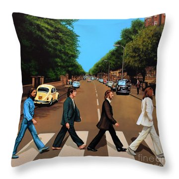 The Beatles Abbey Road Throw Pillow by Paul Meijering