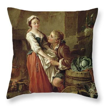 The Beautiful Kitchen Maid Throw Pillow by Francois Boucher