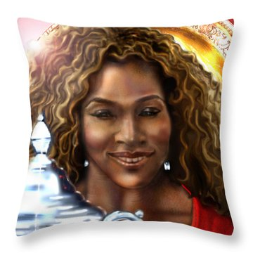 The Beauty Victory That Is Serena Throw Pillow by Reggie Duffie