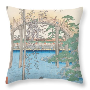 The Bridge With Wisteria Throw Pillow by Hiroshige