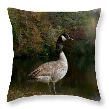 The Canadian Goose Throw Pillow by Jai Johnson