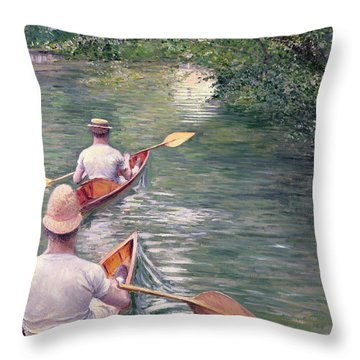 The Canoes Throw Pillow by Gustave Caillebotte