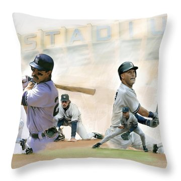 The Captains II Don Mattingly And Derek Jeter Throw Pillow by Iconic Images Art Gallery David Pucciarelli