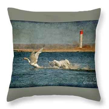 The Chase Is On Throw Pillow by Lois Bryan