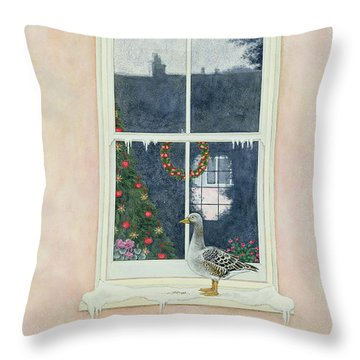 The Christmas Goose  Throw Pillow by Ditz