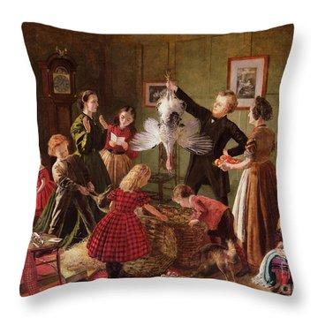 The Christmas Hamper Throw Pillow by Robert Braithwaite Martineau