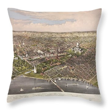 The City Of Washington Throw Pillow by Charles Richard Parsons