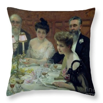 The Corner Of The Table Throw Pillow by Paul Chabas