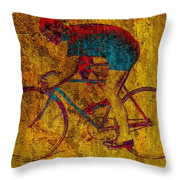 The Cyclist Throw Pillow by Andrew Fare