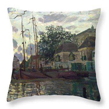 The Dam At Zaandam Throw Pillow by Claude Monet