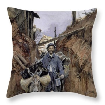 The Donkey Throw Pillow by Francois Flameng