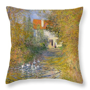 The Duck Pond Throw Pillow by Claude Monet
