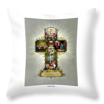 The Easter Cross Throw Pillow by War Is Hell Store