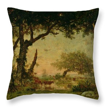The Edge Of The Forest At Fontainebleau Throw Pillow by Theodore Rousseau