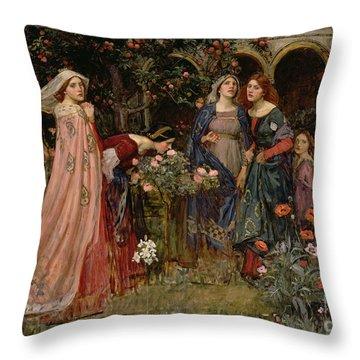 The Enchanted Garden Throw Pillow by John William Waterhouse