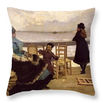 The End Of October Throw Pillow by Ernest Ange Duez