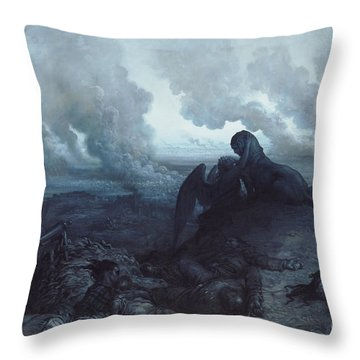 The Enigma Throw Pillow by Gustave Dore