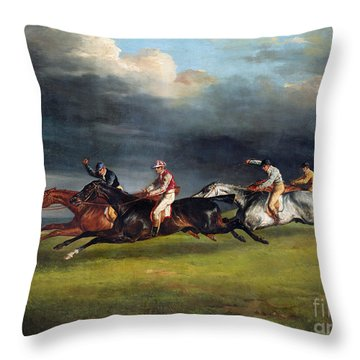 The Epsom Derby Throw Pillow by Theodore Gericault