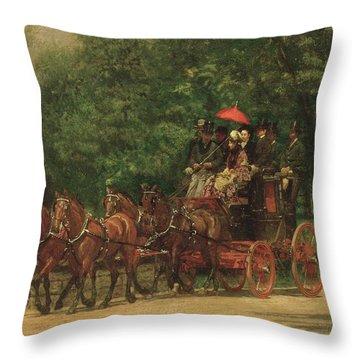 The Fairman Rogers Coach And Four  Throw Pillow by Thomas Cowperthwait Eakins