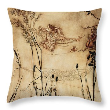 The Fairy's Tightrope From Peter Pan In Kensington Gardens Throw Pillow by Arthur Rackham