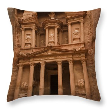 The Famous Treasury With Two Camels Throw Pillow by Taylor S. Kennedy