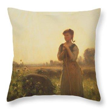 The Farm Girl Throw Pillow by Arthur Hacker