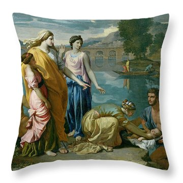 The Finding Of Moses Throw Pillow by Nicolas Poussin