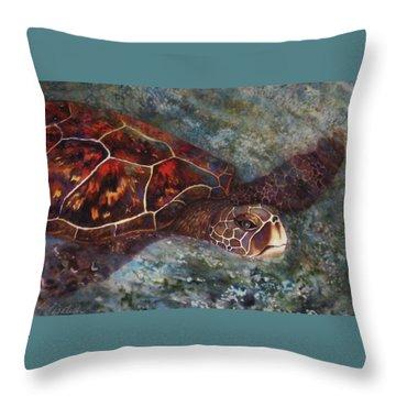 The First Honu Throw Pillow by Kerri Ligatich