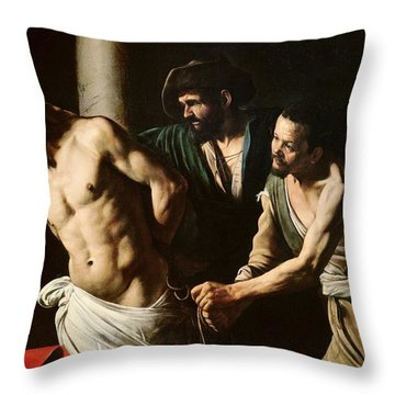 The Flagellation Of Christ Throw Pillow by Caravaggio