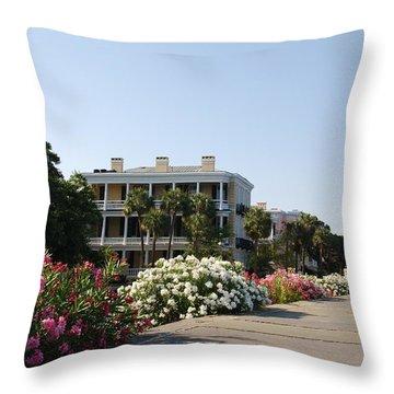 The Flowers At The Battery Charleston Sc Throw Pillow by Susanne Van Hulst