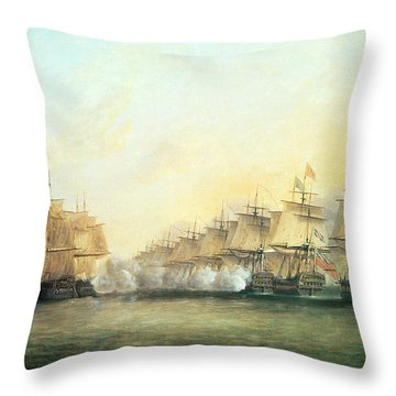 The Fourth Action Off Trincomalee Between The English And The French Throw Pillow by Dominic Serres