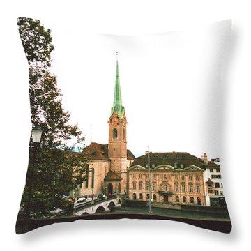 The Fraumunster Abbey In Zurich Switzerland Throw Pillow by Susanne Van Hulst
