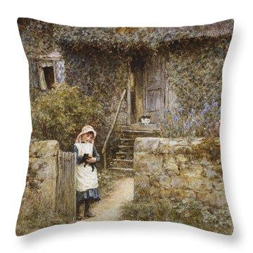 The Garden Gate Throw Pillow by Helen Allingham
