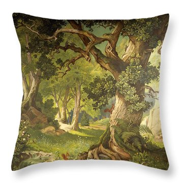 The Garden Of The Magician Klingsor, From The Parzival Cycle, Great Music Room Throw Pillow by Christian Jank