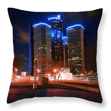 The Gm Renaissance Center At Night From Hart Plaza Detroit Michigan Throw Pillow by Gordon Dean II