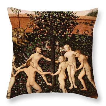 The Golden Age Throw Pillow by Lucas Cranach